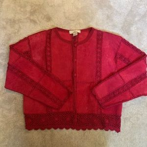Jackets & Blazers - Cherry Red Suede Jacket with Crochet Detail